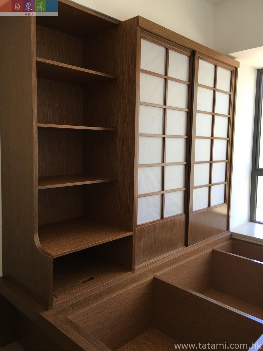 传统日式榻榻米+优质实木夹板储物地台+衣柜+书台+和