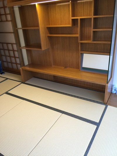 Japanese Moisture-proof Tatami size 38mm with storage platform furniture level-up to the bay window to the same height for more active space. Japanese sliding door, bookshelf and lifting table system.<br />October, 2015